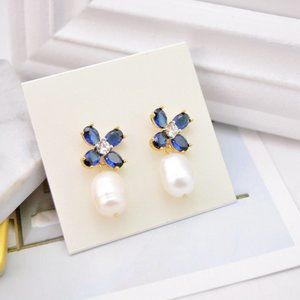 Tory Burch Delicate Blue Flower Pearl Earrings